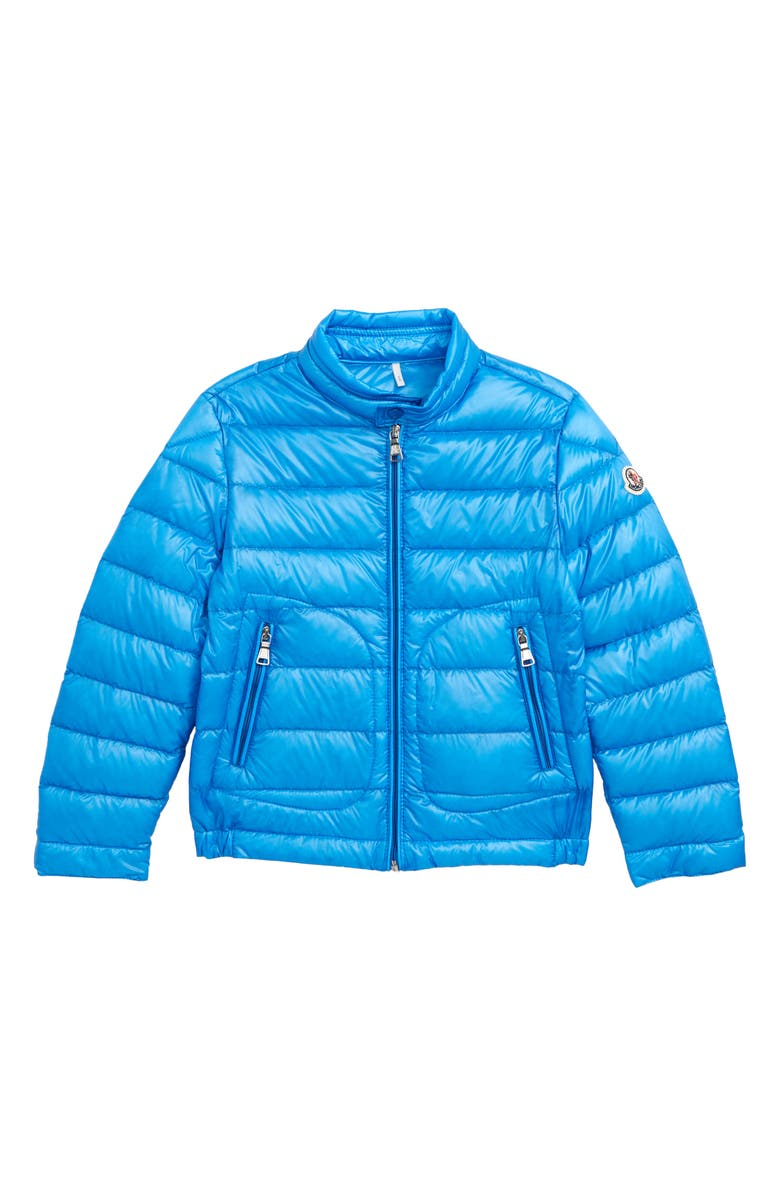 MONCLER Acorus Channel Quilted Down Moto Jacket, Main, color, 726 BLUE
