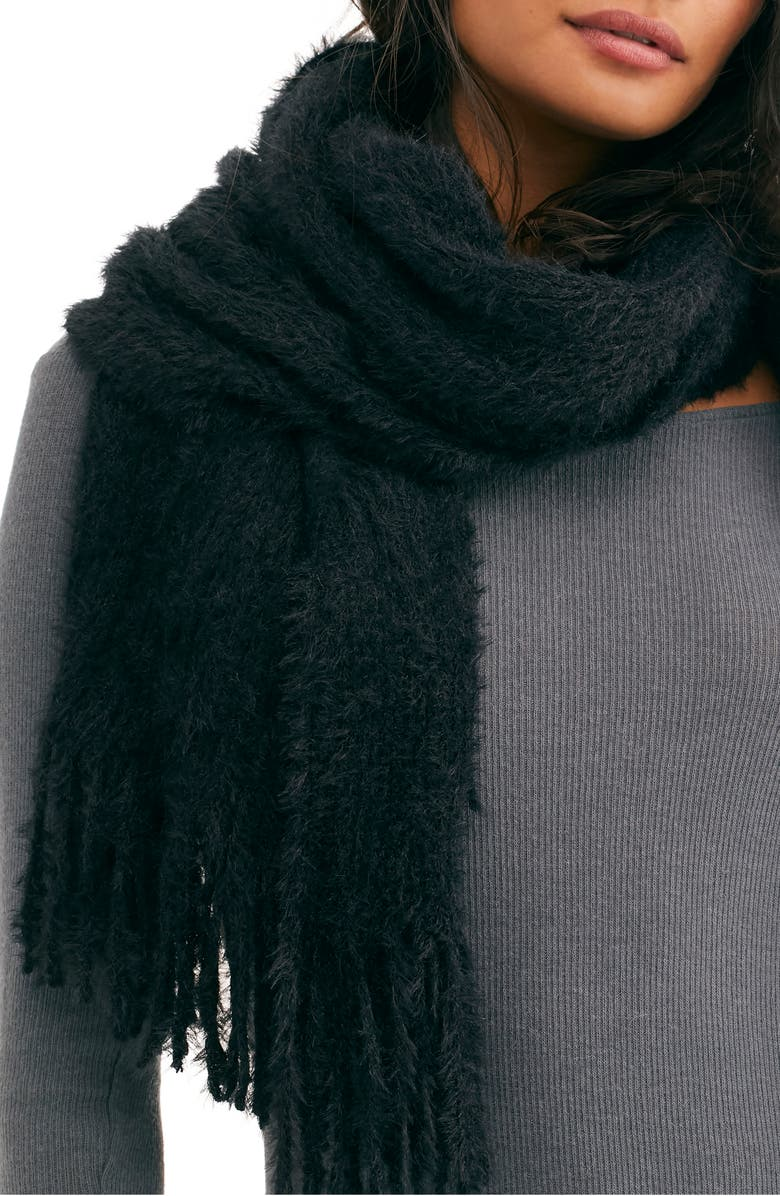 FREE PEOPLE Whisper Fringe Blanket Scarf, Main, color, BLACK