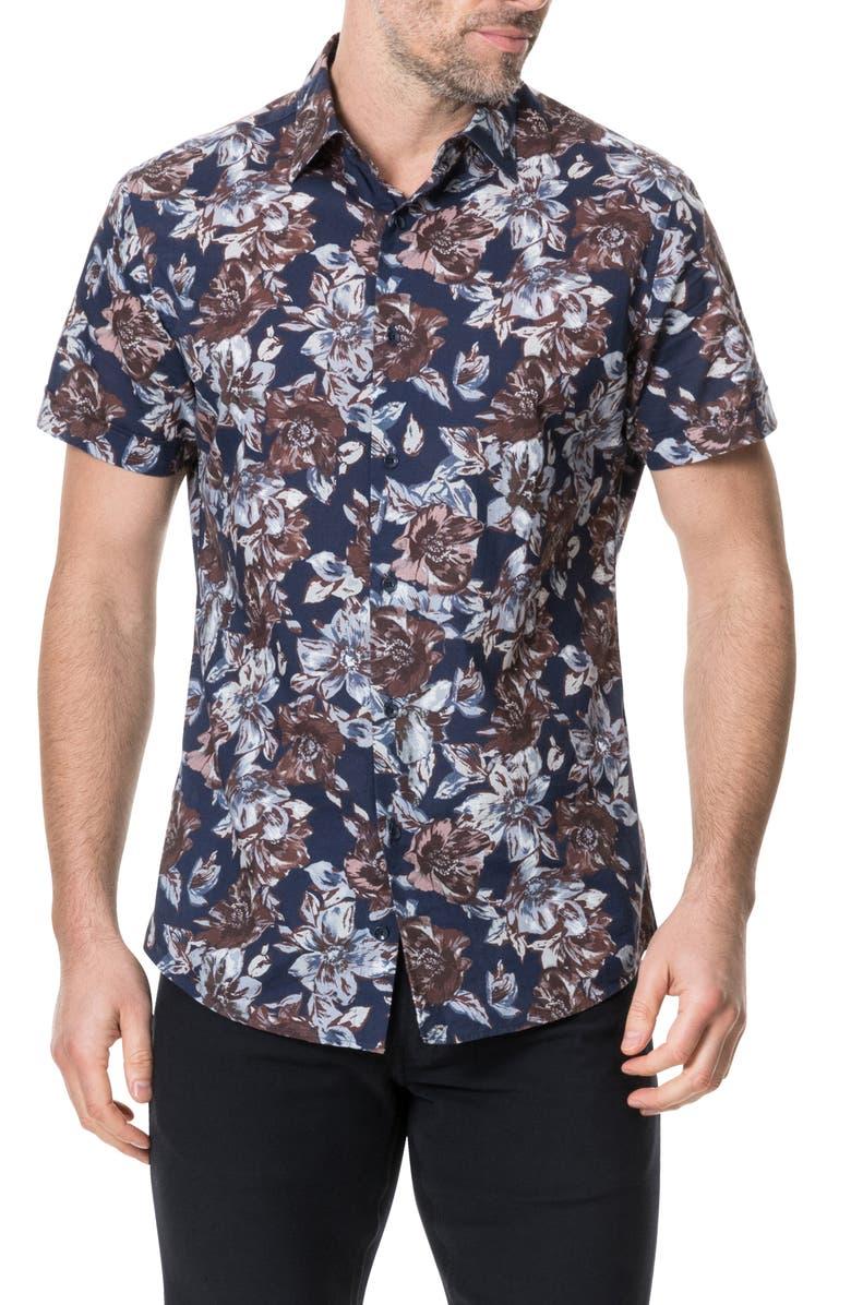 RODD & GUNN Gifford Regular Fit Floral Short Sleeve Button-Up Shirt, Main, color, INDIGO