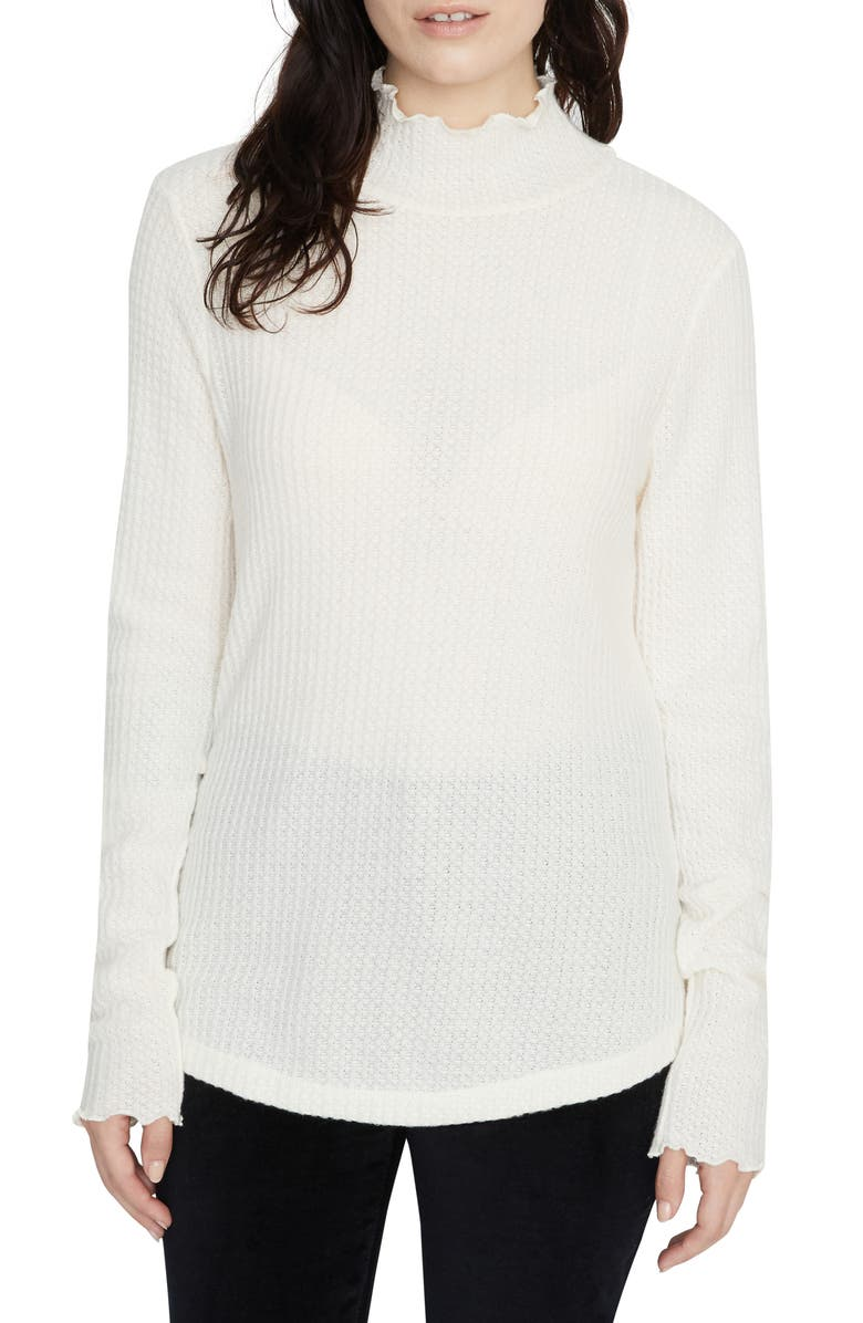 SANCTUARY Pearla Waffle Knit Mock Neck Top, Main, color, MOONSTONE