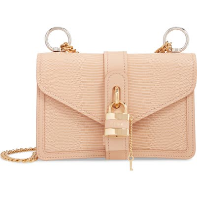 Chloe Aby Chain Reptile Embossed Calfskin Leather Shoulder Bag - Pink (Nordstrom Exclusive)
