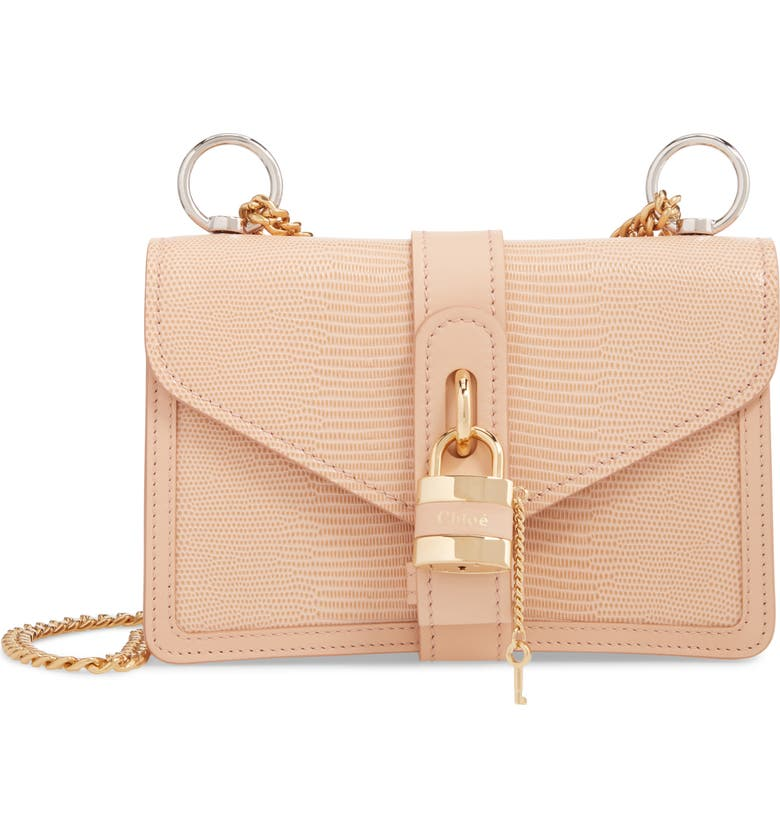 CHLOÉ Aby Chain Reptile Embossed Calfskin Leather Shoulder Bag, Main, color, DELICATE PINK