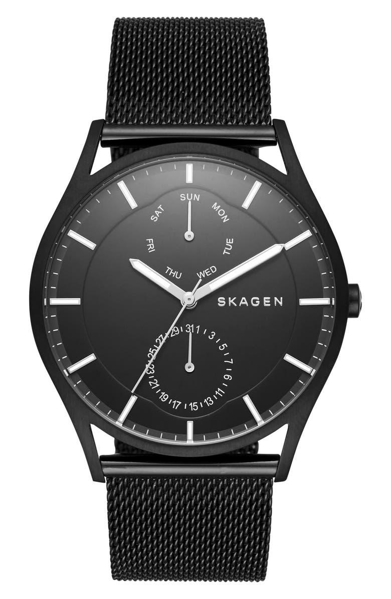 SKAGEN 'Holst' Multifunction Mesh Strap Watch, 40mm, Main, color, 001