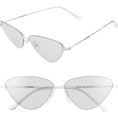Balenciaga 61Mm Cat Eye Sunglasses - Shiny Solid White/ Grey
