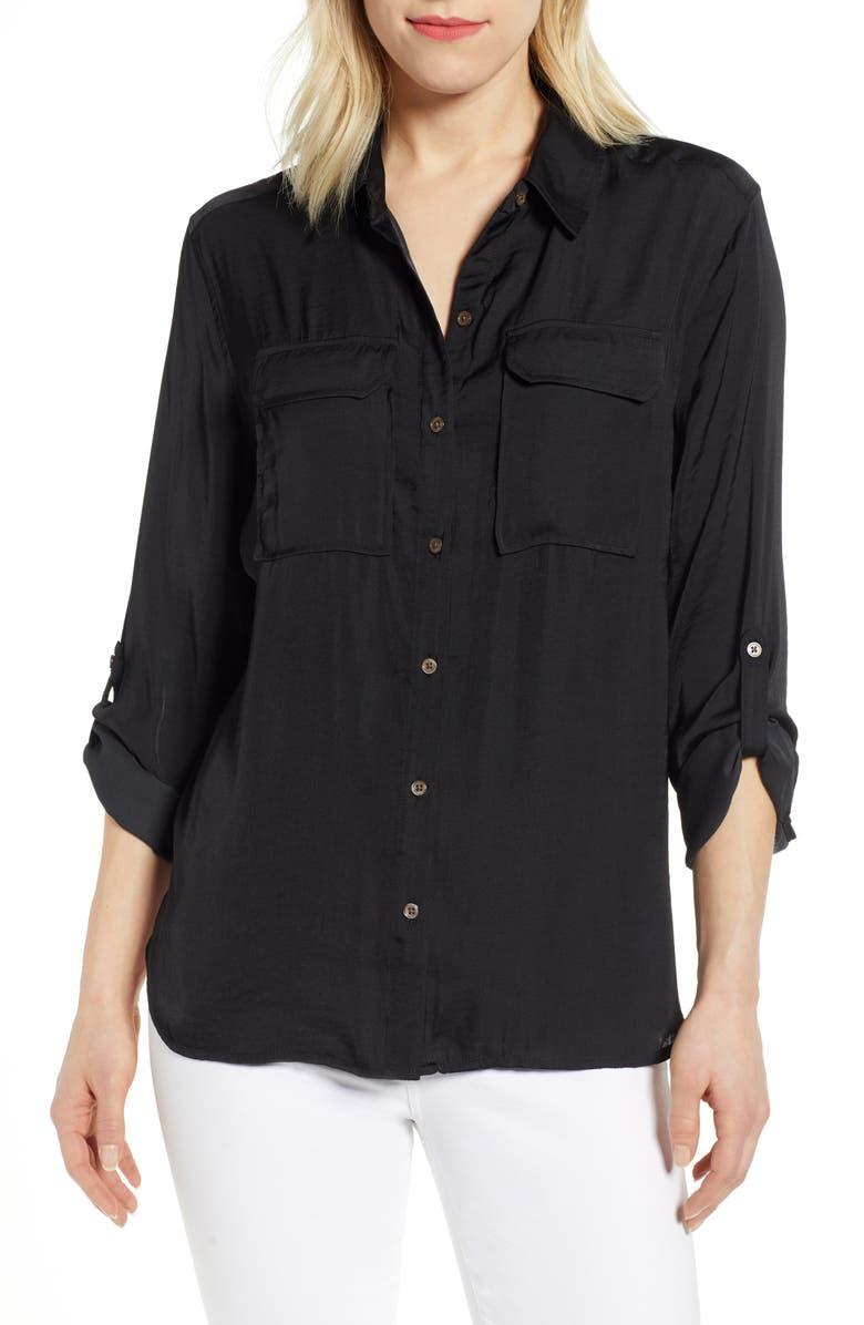 VINCE CAMUTO Two-Pocket Rumple Blouse, Main, color, RICH BLACK