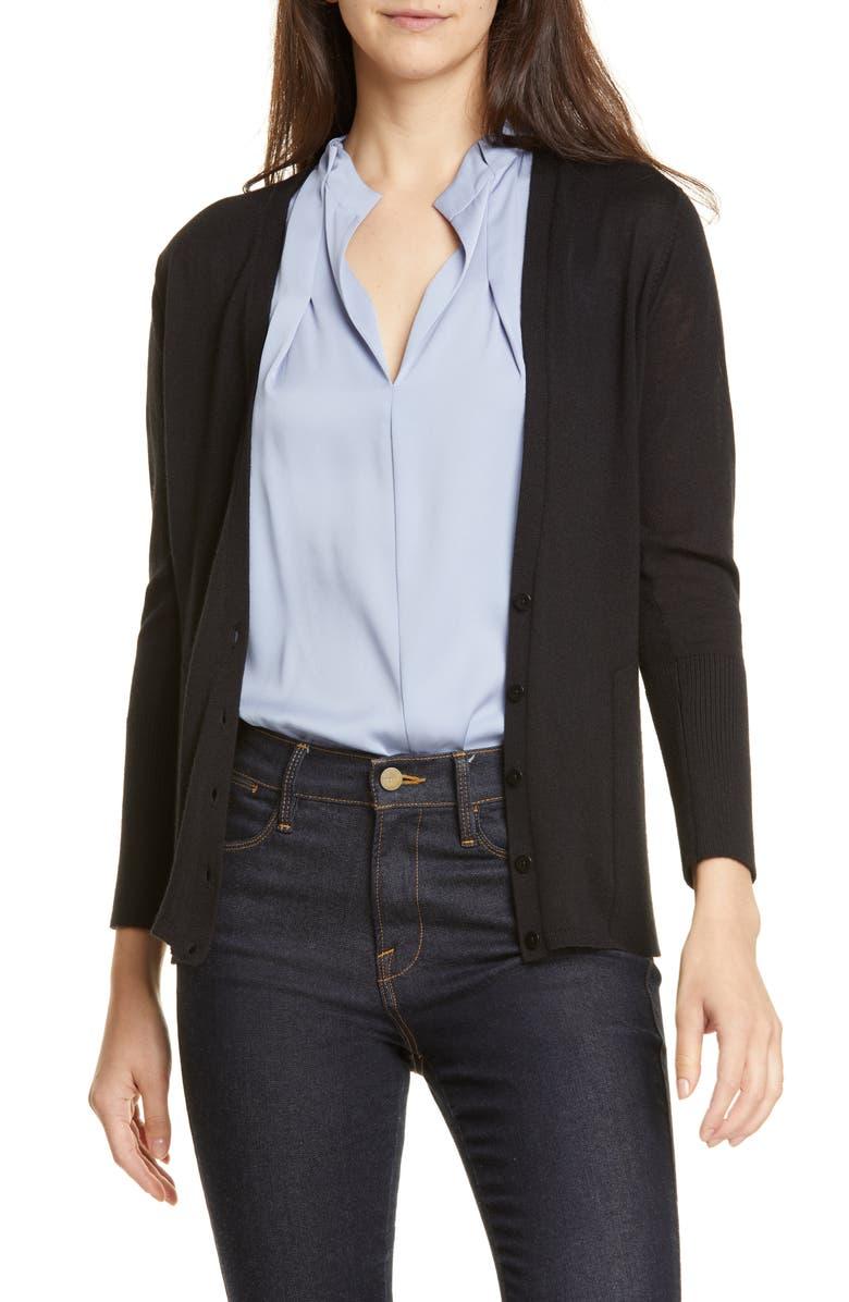 LEWIT V-Neck Wool & Silk Cardigan, Main, color, BLACK