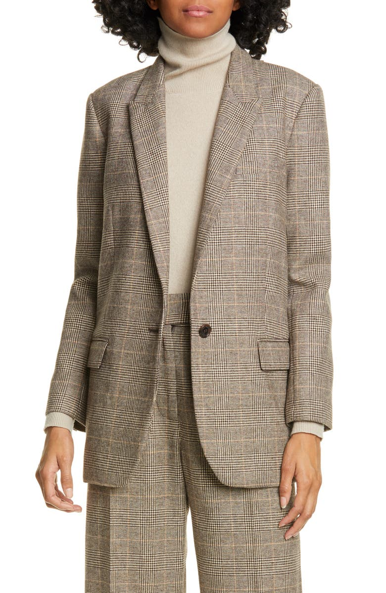 NILI LOTAN Diane Plaid Blazer, Main, color, BROWN/ CREAM