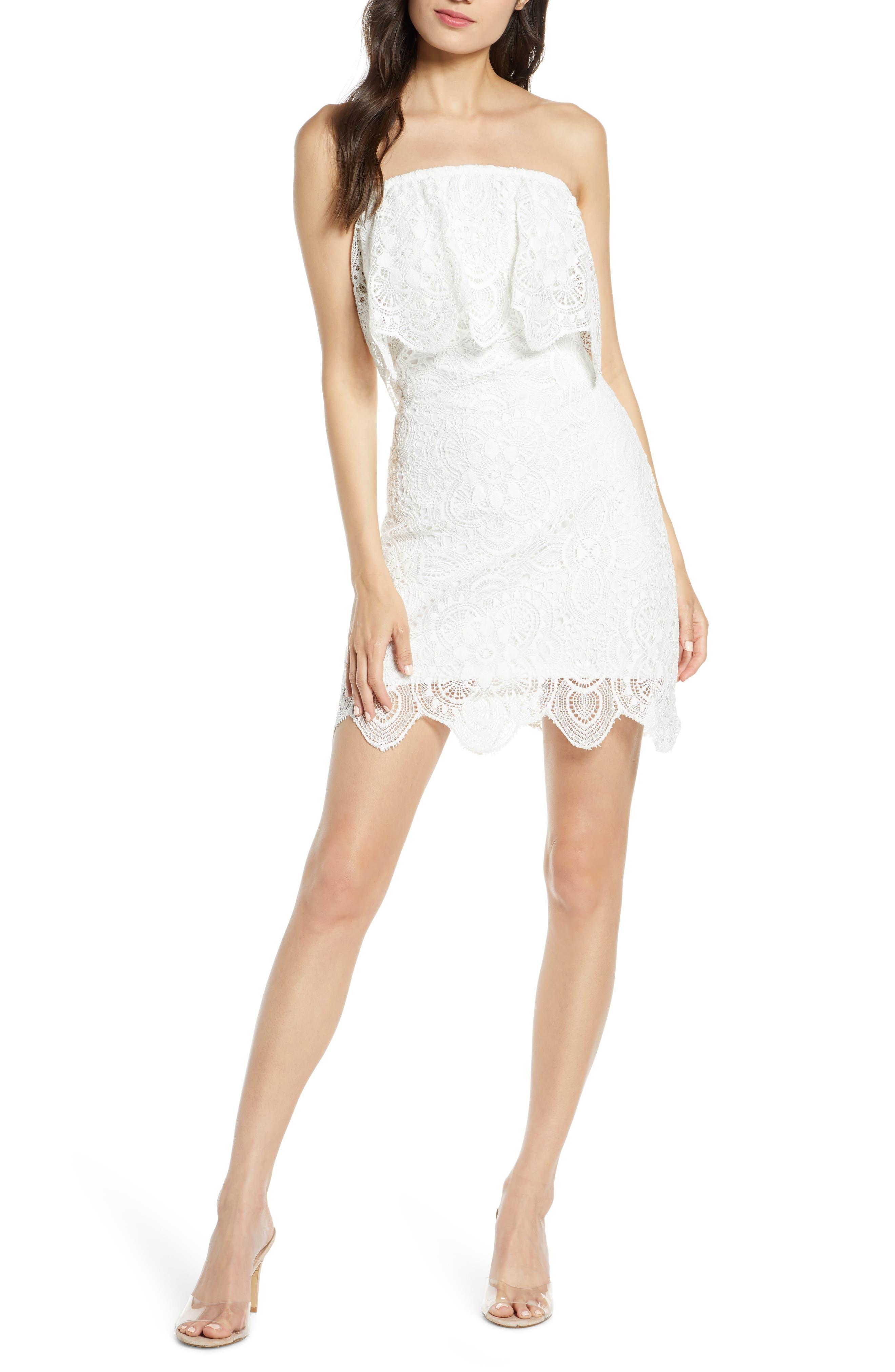 Bb Dakota A Lace Of You Strapless Lace Minidress, Ivory