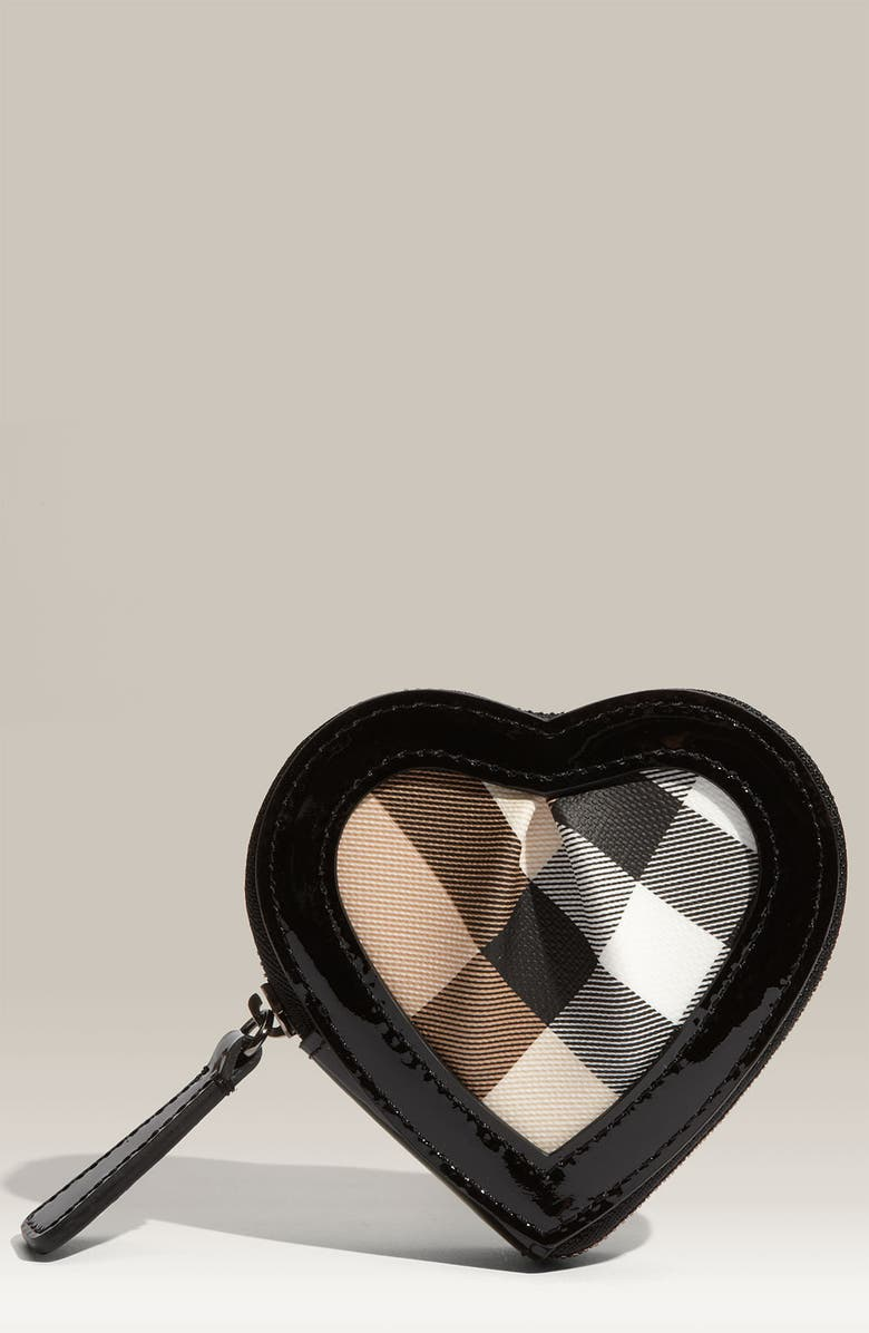 BURBERRY Zip Around Heart Shaped Coin Purse, Main, color, 001