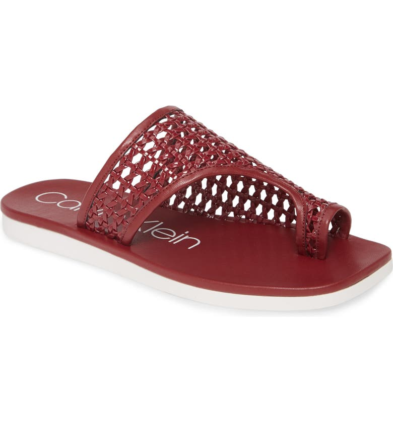 CALVIN KLEIN Rilla Woven Slide Sandal, Main, color, BARN RED PATENT LEATHER