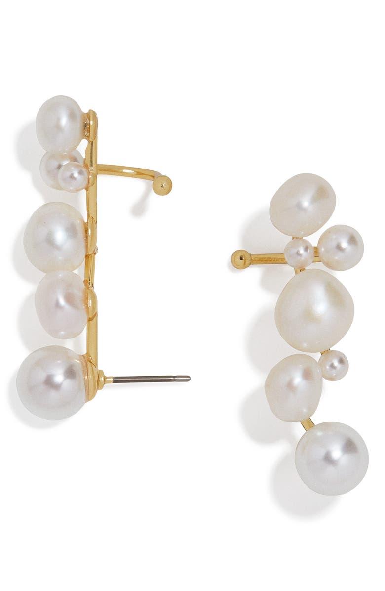 BAUBLEBAR Set of 2 Soraida Pearl Ear Crawlers, Main, color, PEARL/ GOLD