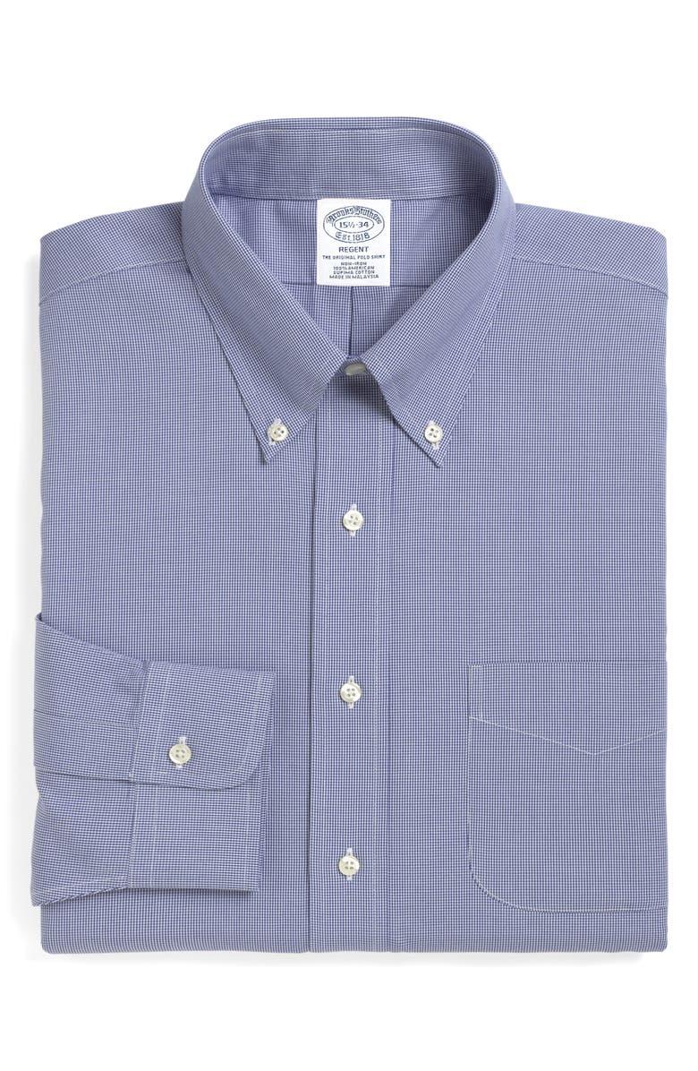 BROOKS BROTHERS Regent Regular Fit Houndstooth Dress Shirt, Main, color, BLUE