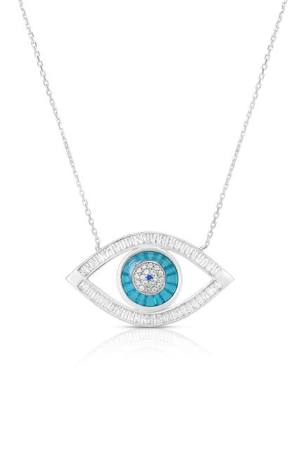 Image of Sphera Milano Rhodium Plated Sterling Silver Evil Eye Necklace