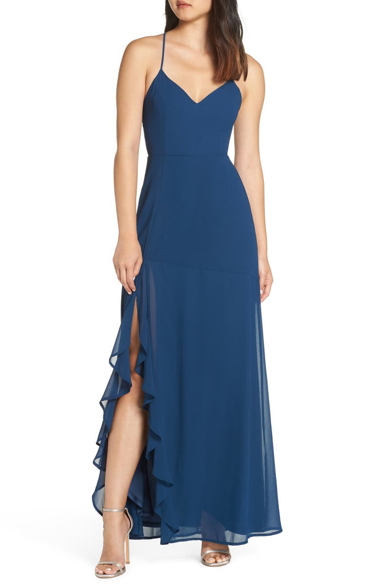 LULUS Luxurious Love Lace-Up Back Gown, Main, color, 410