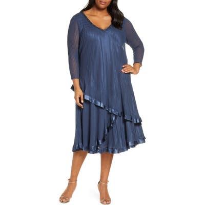 Plus Size Komarov Tiered V-Neck Midi Dress, Blue