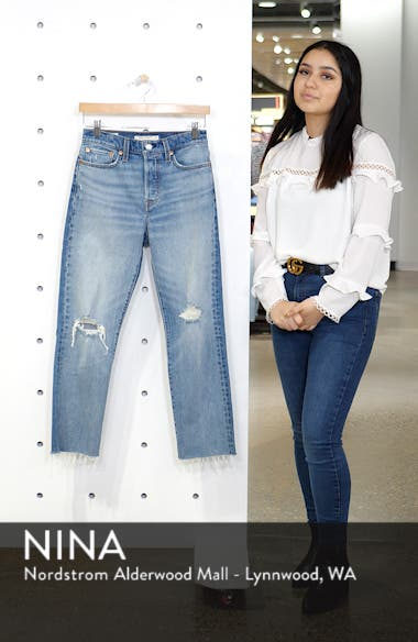 Wedgie High Waist Ripped Crop Straight Leg Jeans, sales video thumbnail