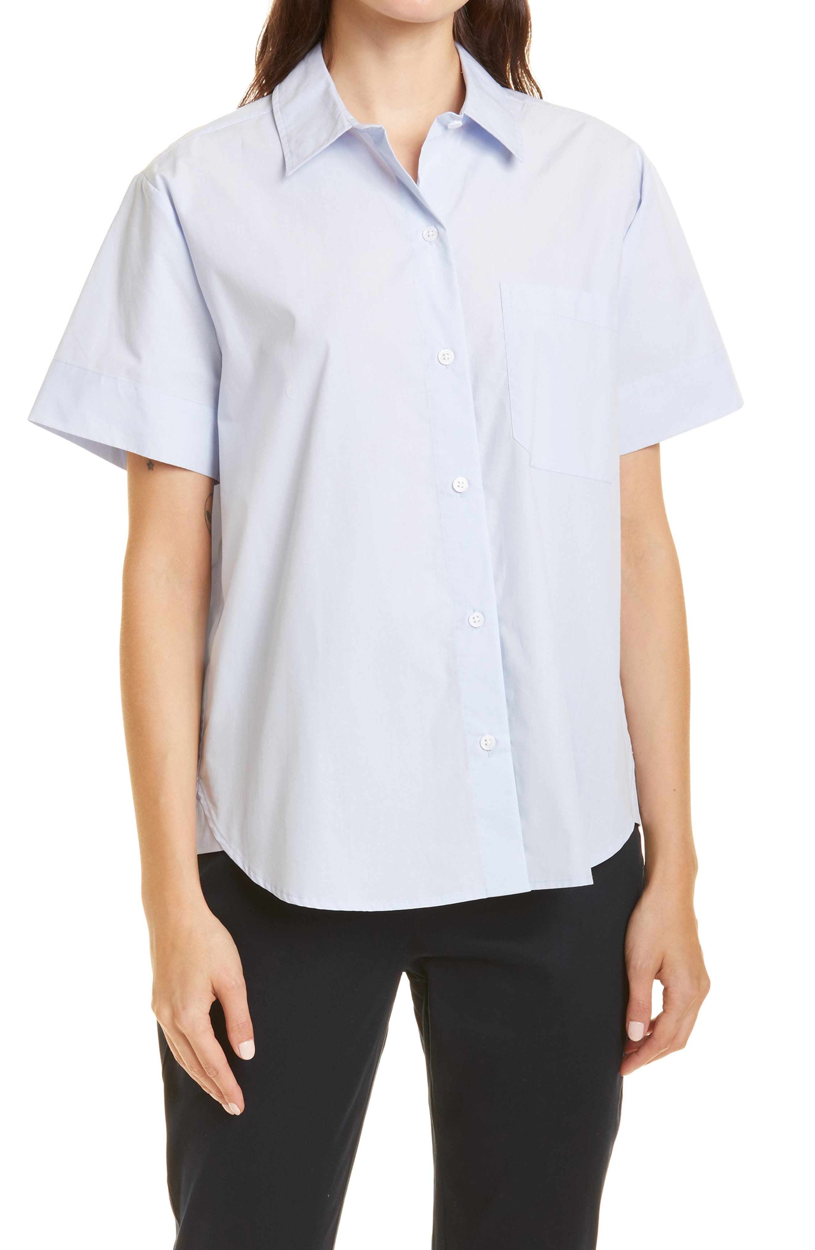 Short Sleeve Boyfriend Cotton Button-Up Shirt