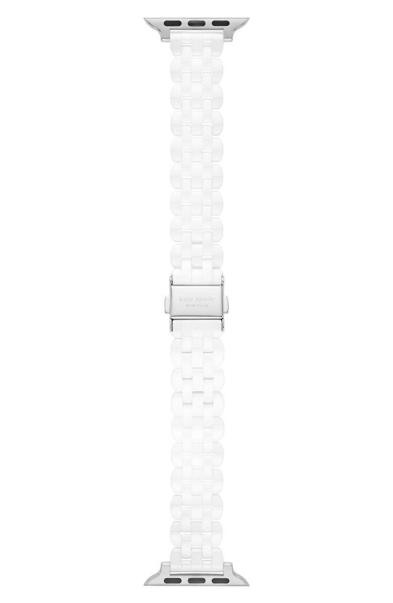 KATE SPADE NEW YORK scallop 38/40mm ceramic Apple Watch<sup>®</sup> bracelet strap, Main, color, WHITE/ SILVER