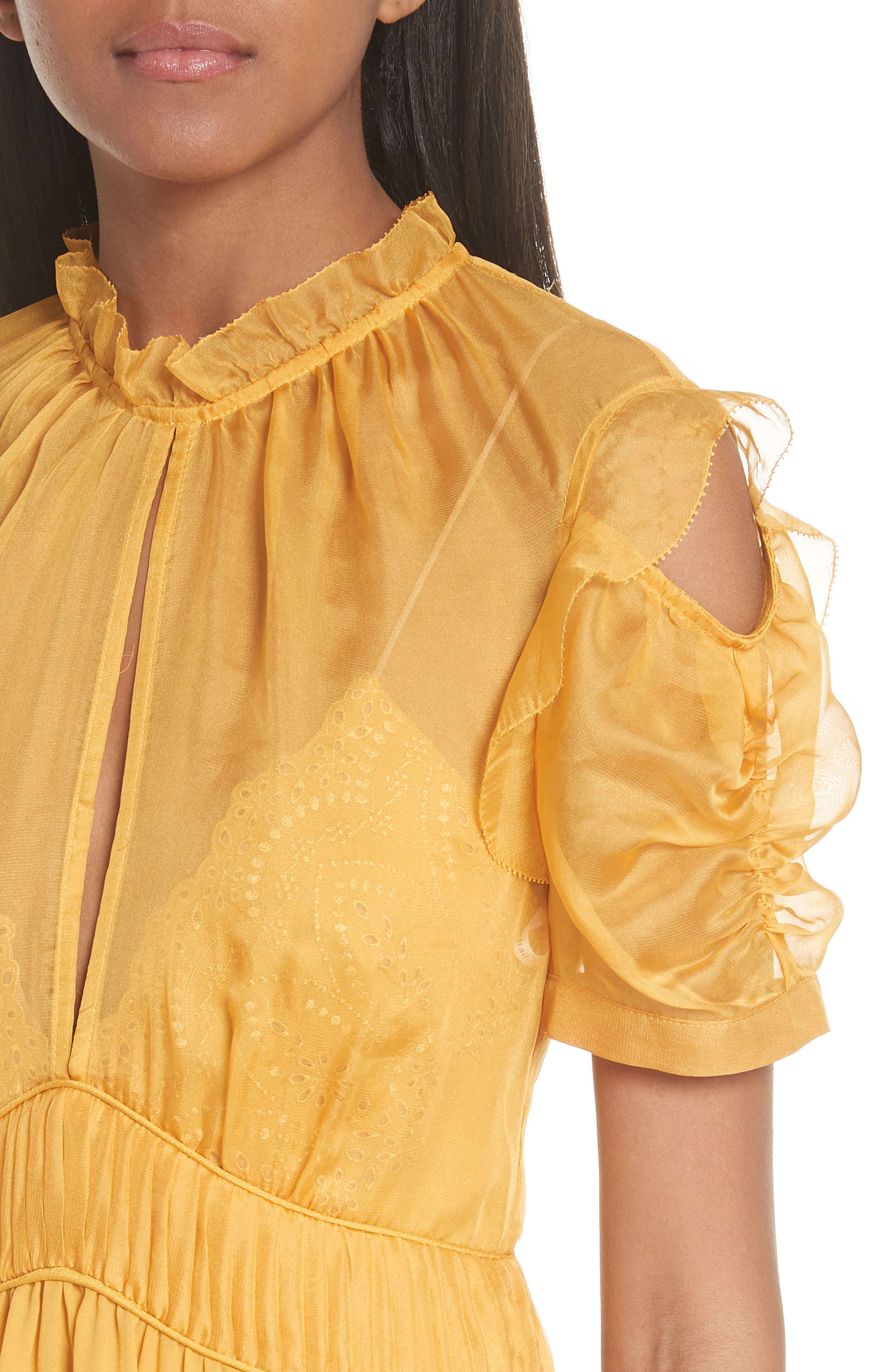 ,                             Chiffon & Broderie Anglaise Dress,                             Alternate thumbnail 5, color,                             700
