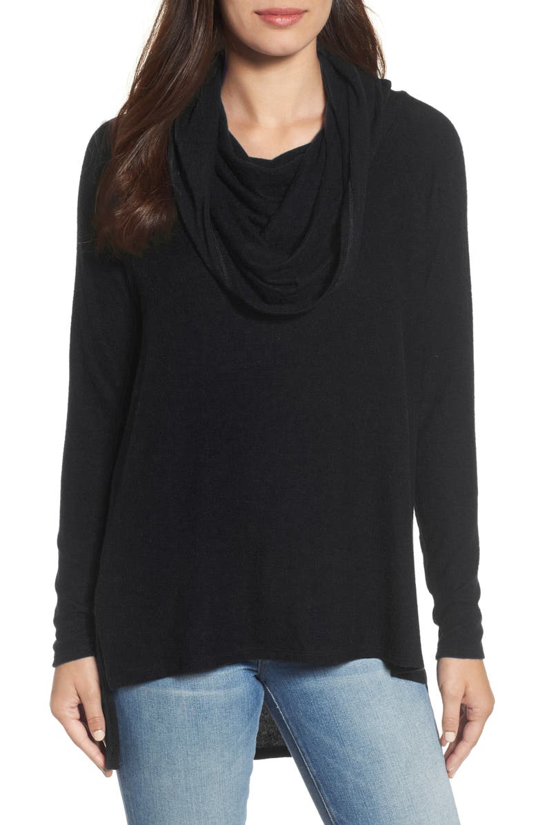 GIBSON Cozy Convertible Neckline Tunic, Main, color, BLACK