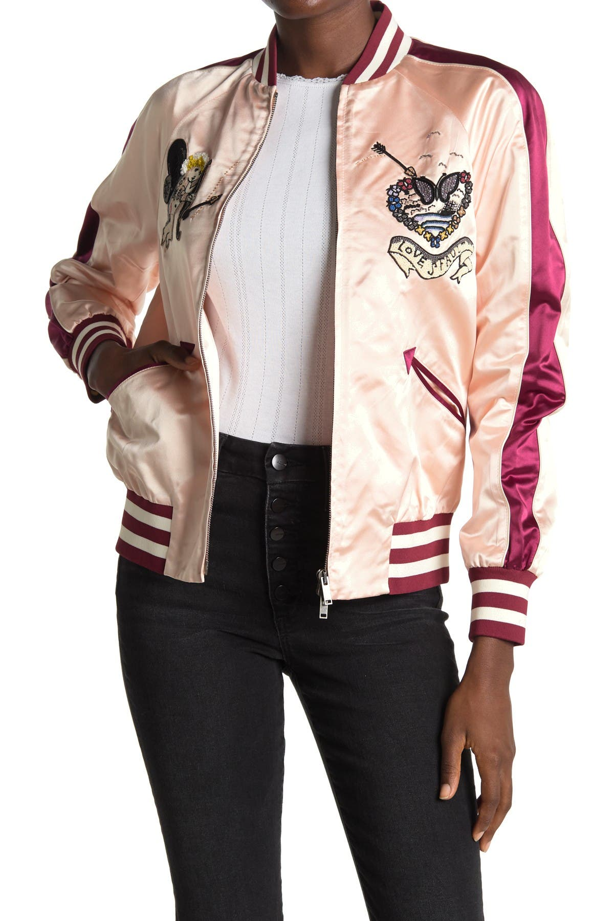 Image of Valentino Guibbino Ricamato Embroidered Satin Bomber Jacket