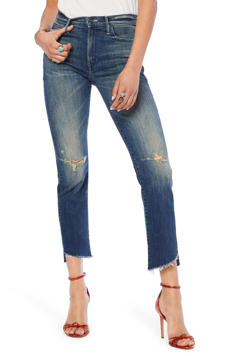 MOTHER The Rascal Ripped High Waist Step Hem Ankle Skinny Jeans, Main, color, FIELD OF DREAMS