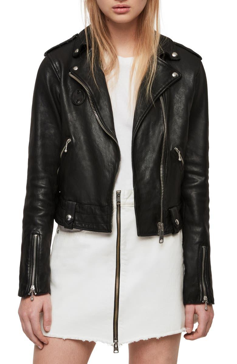 ALLSAINTS Vixon Leather Biker Jacket, Main, color, 001
