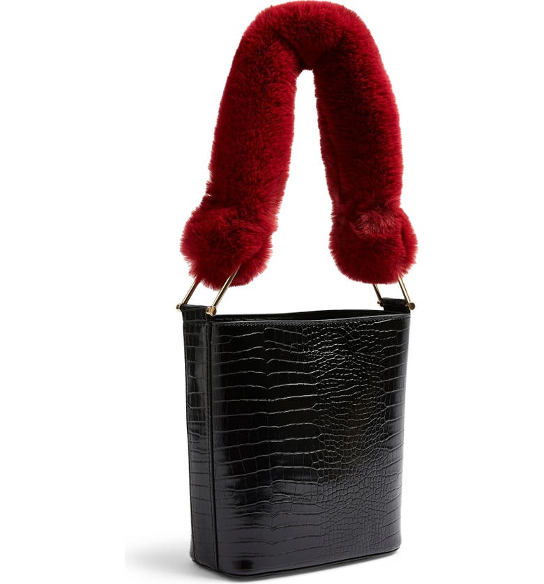 Tess Faux Fur Handle Tote Bag by Topshop