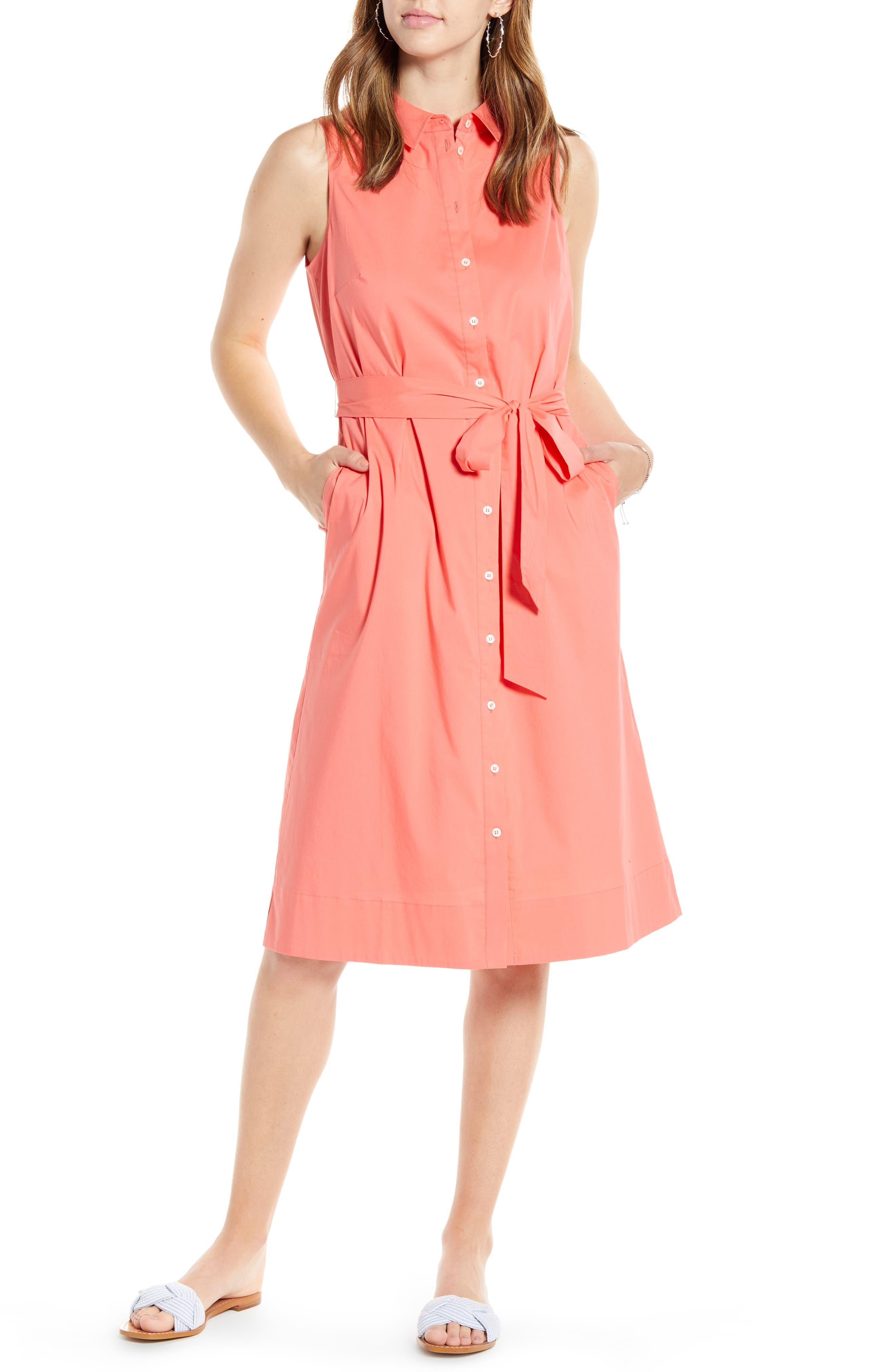 Petite 1901 Sleeveless Cotton Blend Shirtdress, Coral