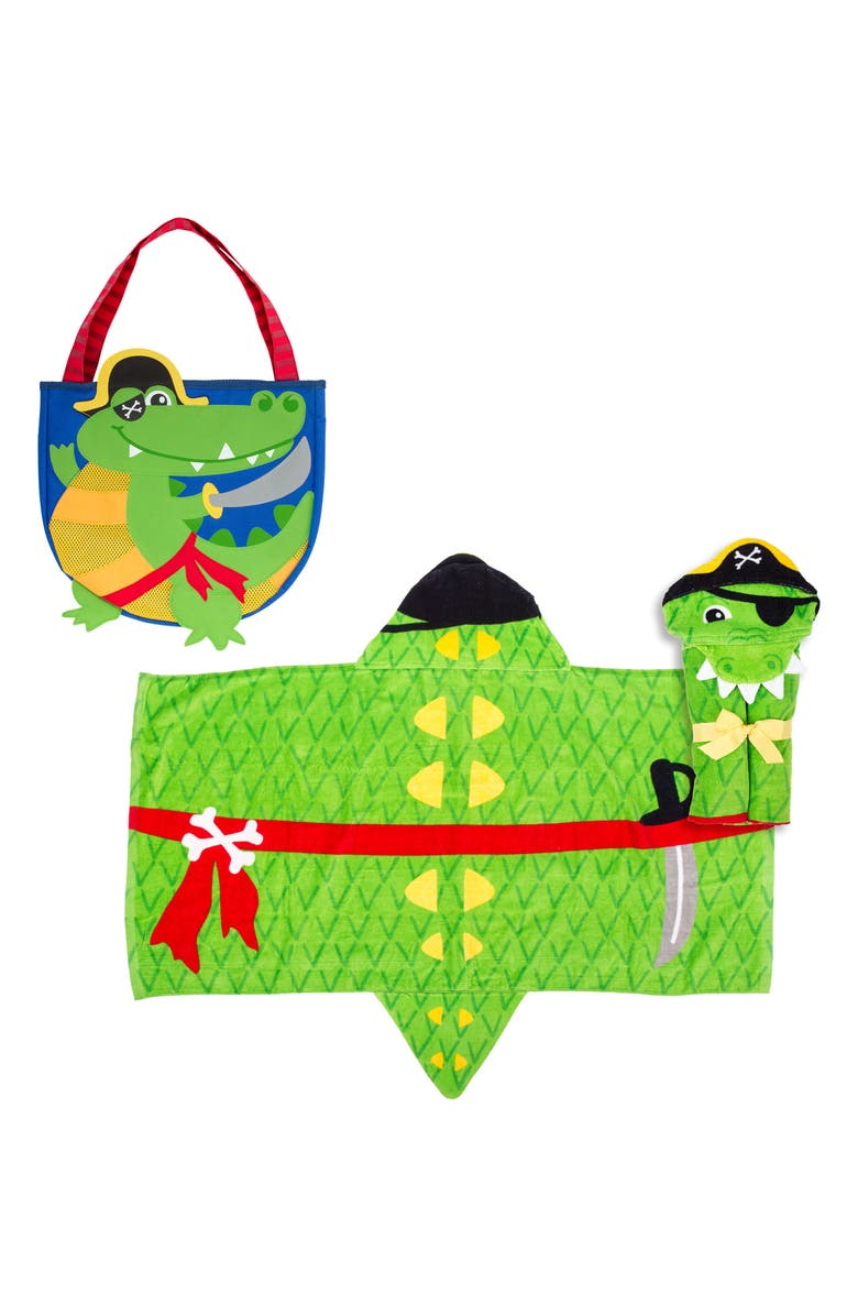 STEPHEN JOSEPH Beach Tote, Toys & Hooded Towel Set, Main, color, GREEN ALLIGATOR