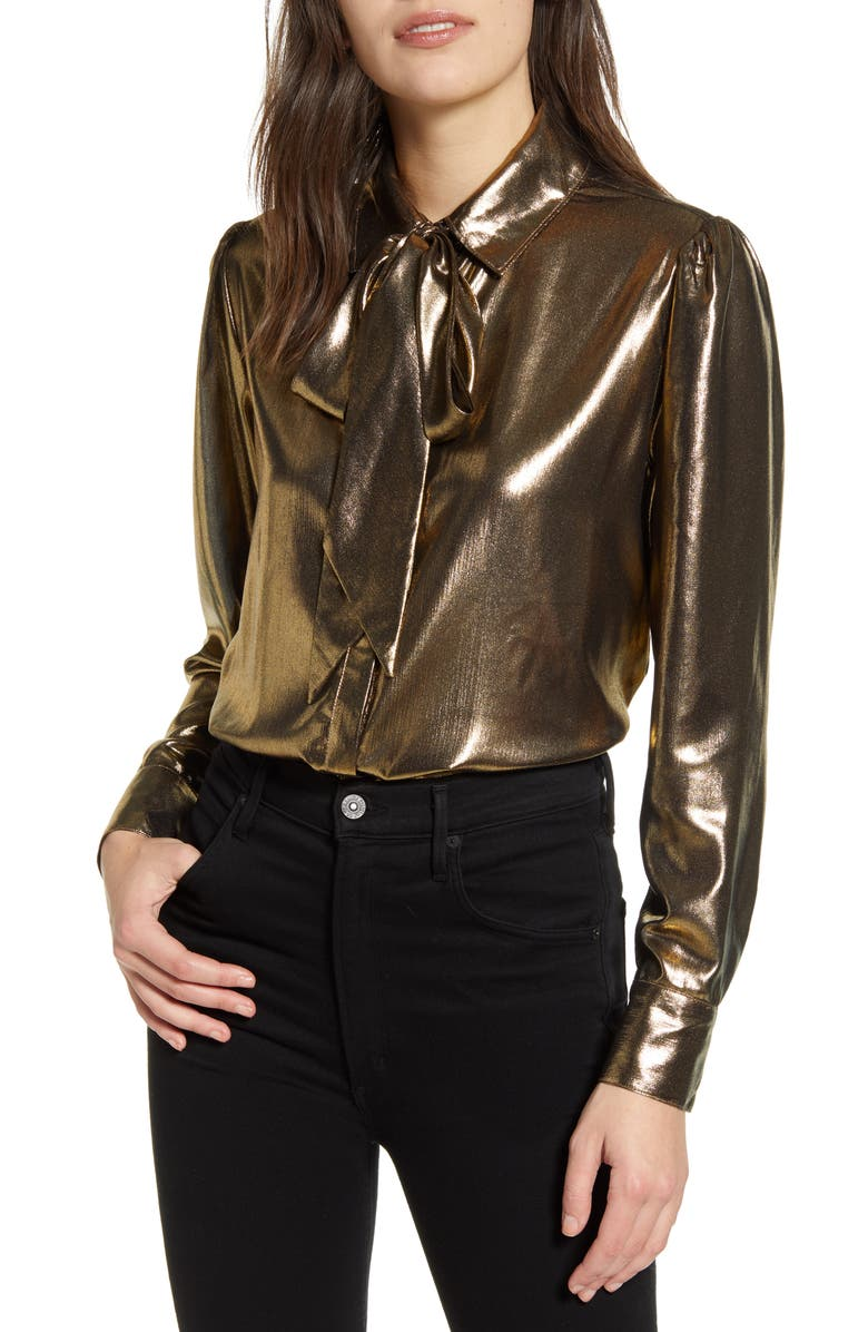 7 FOR ALL MANKIND<SUP>®</SUP> Metallic Tie Neck Blouse, Main, color, LIQUID GOLD