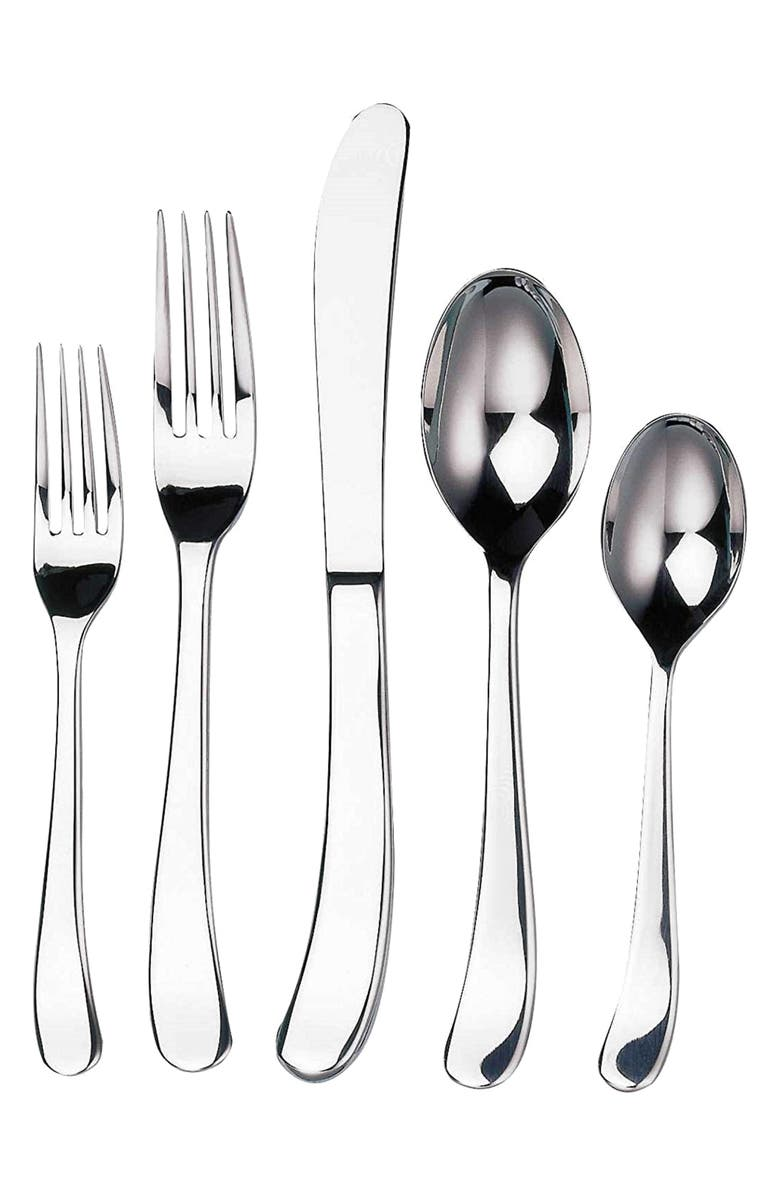 GINKGO FLATWARE Sea Drift 44-Piece Flatware Set, Main, color, SILVER