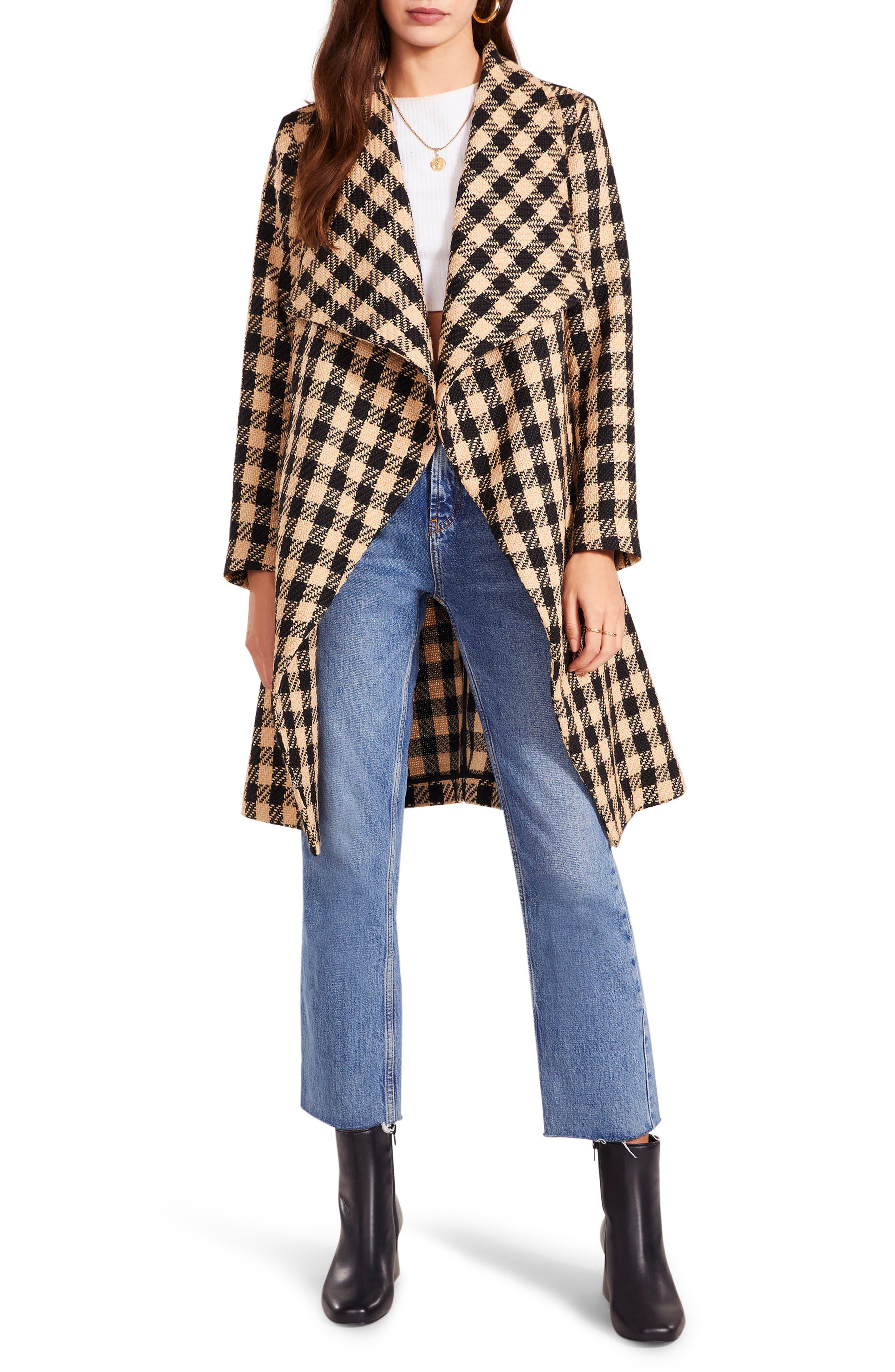 Take Out Check Drape Coat