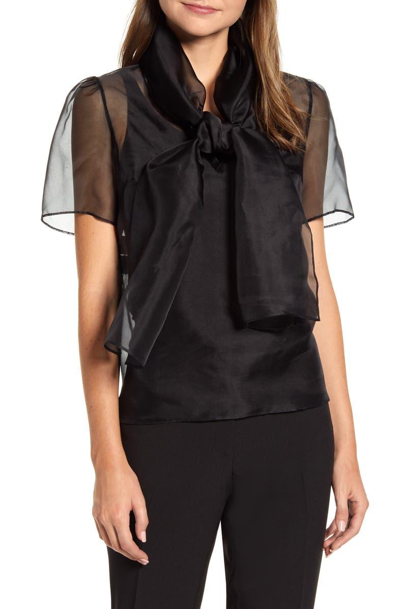 ANNE KLEIN Bow Neck Silk Blouse, Main, color, ANNE BLACK