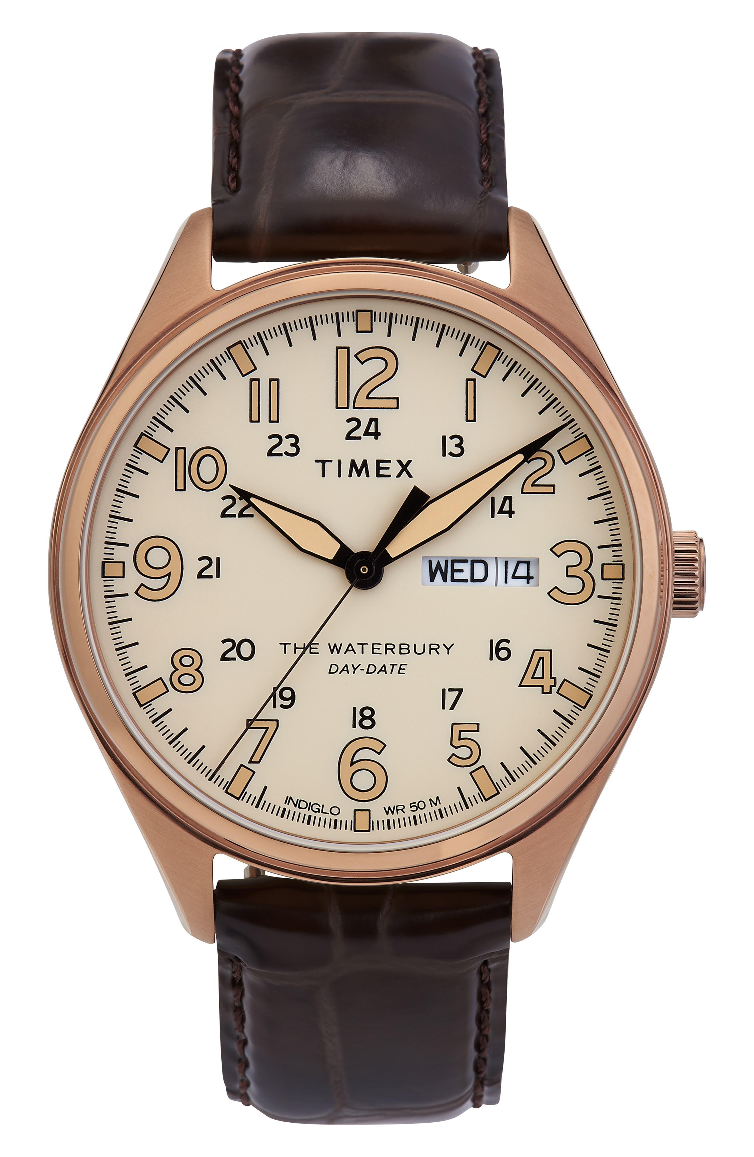 Timex Waterbury Leather Strap Watch, 42Mm
