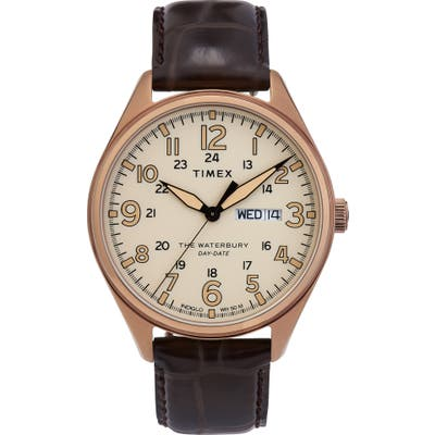 Timex Waterbury Leather Strap Watch, 42Mm