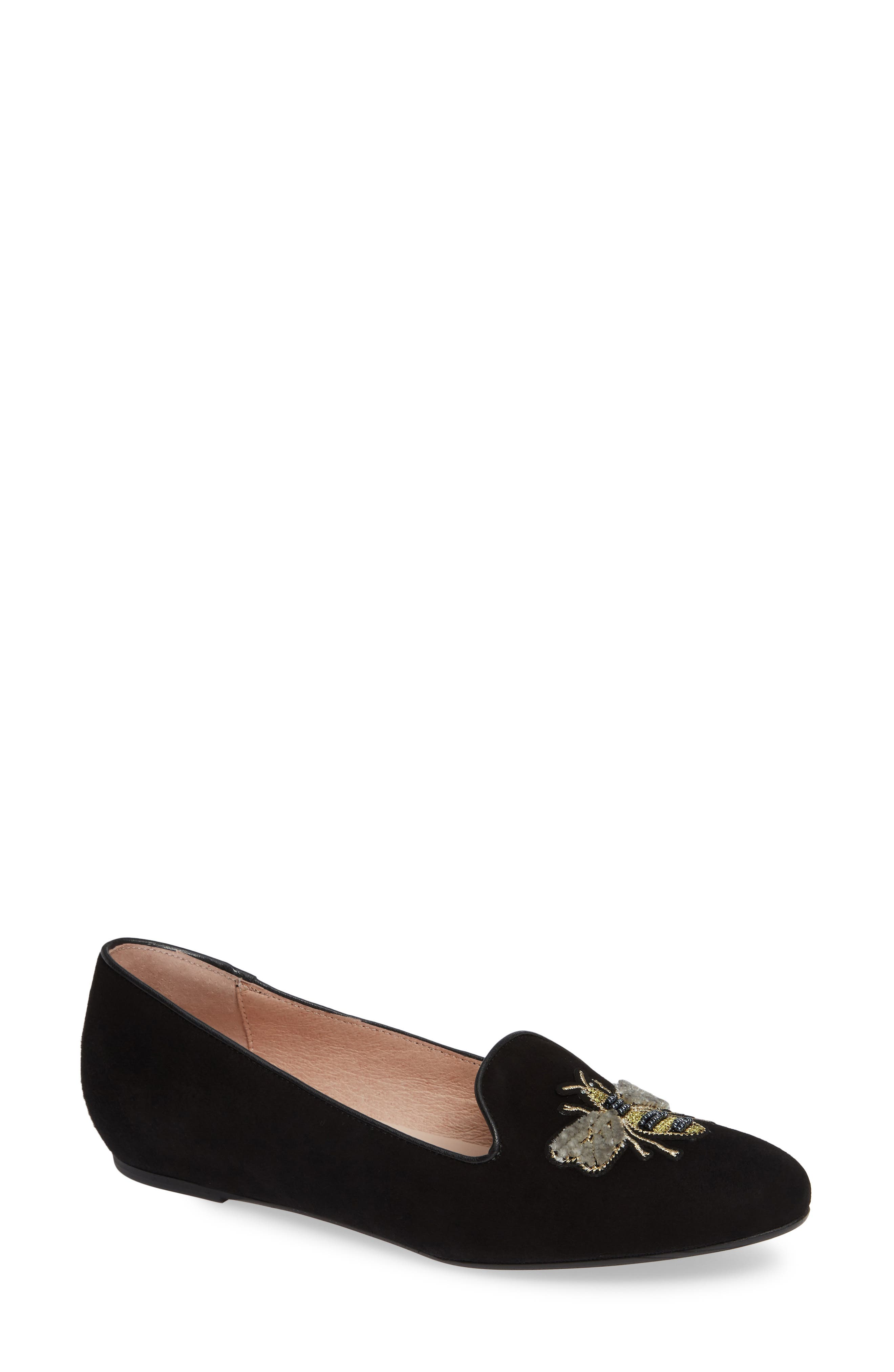 Patricia Green Embroidered Bee Loafer, Black