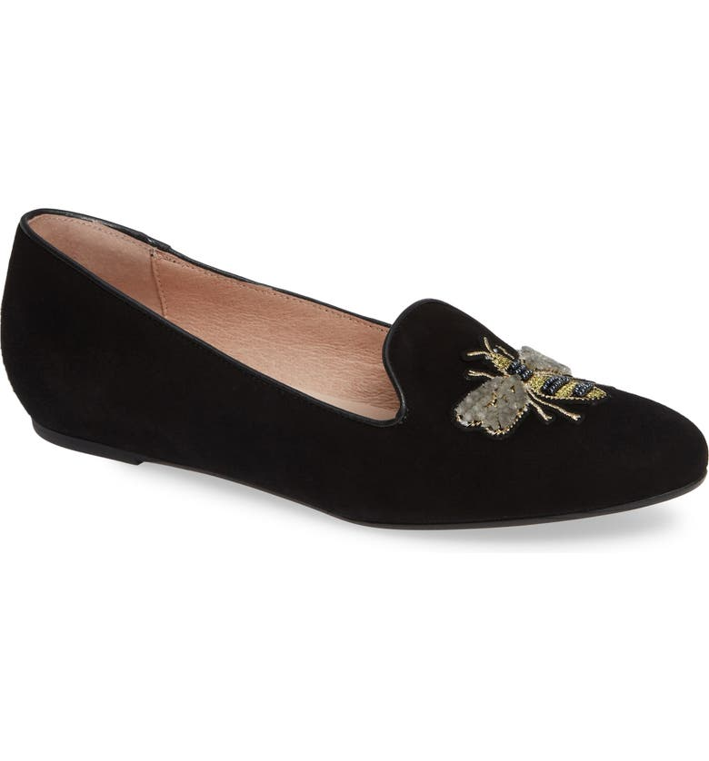 PATRICIA GREEN Embroidered Bee Loafer, Main, color, BLACK SUEDE