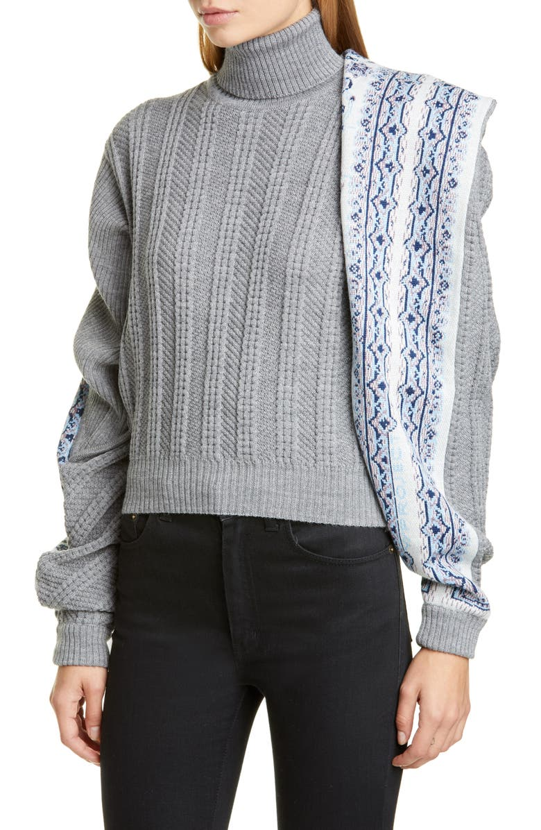Y/PROJECT Scarf Panel Wool Blend Sweater, Main, color, GREY