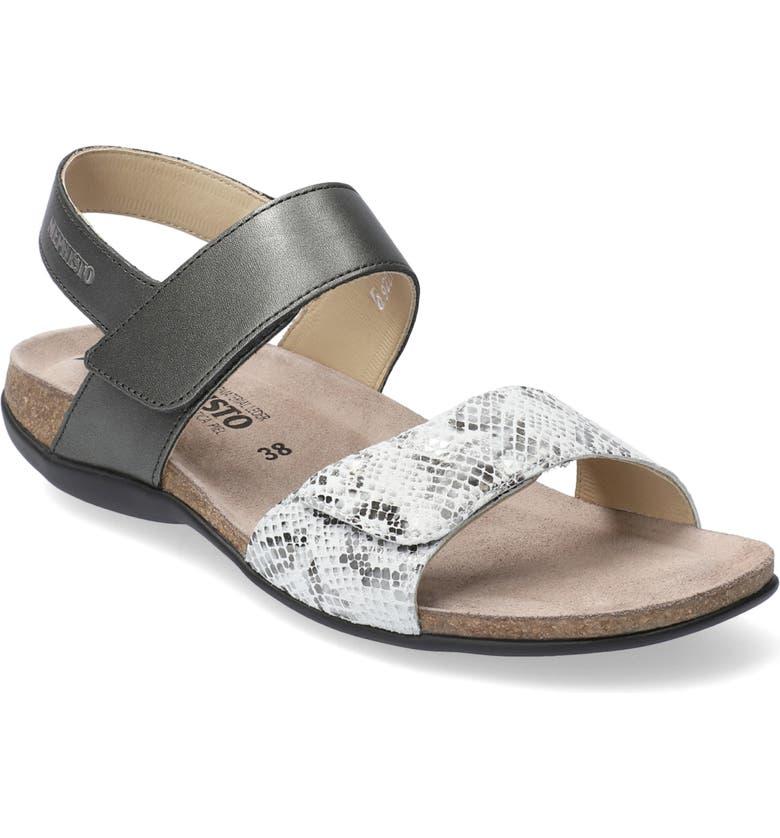 MEPHISTO 'Agave' Sandal, Main, color, DARK GREY LEATHER