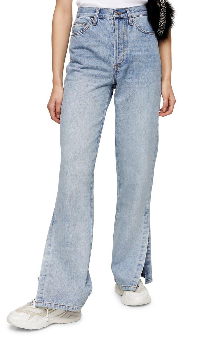 TOPSHOP Split Flare Leg Jeans, Main, color, BLEACH