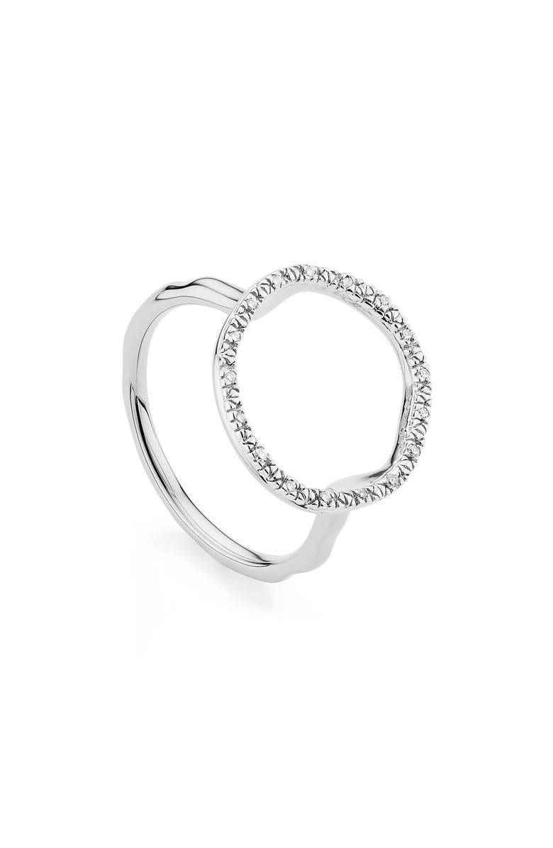 MONICA VINADER Riva Circle Diamond Ring, Main, color, SILVER/ DIAMOND