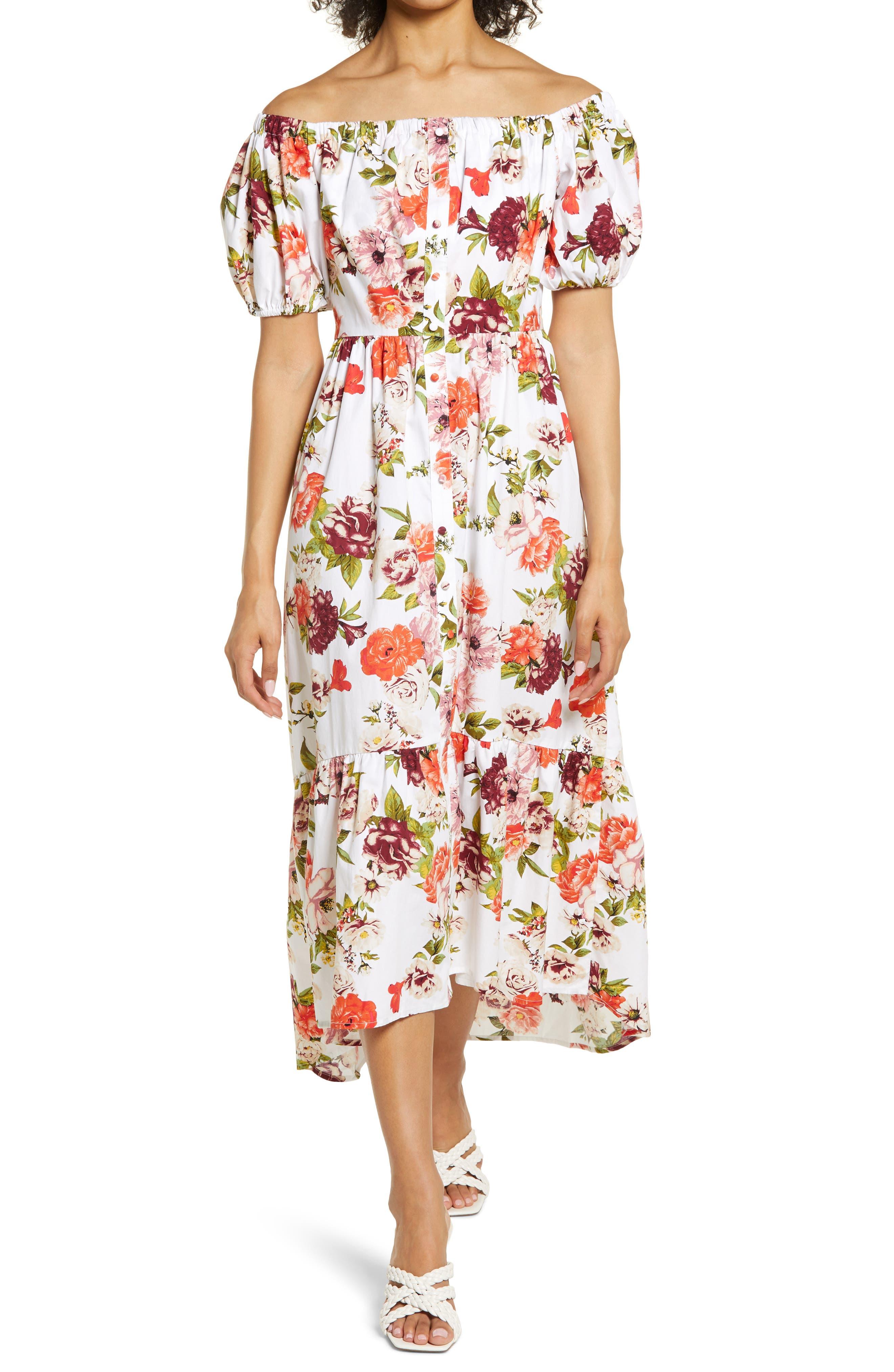 Off The Shoulder Button-Up Dress