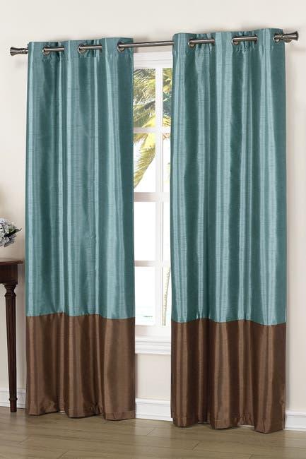 Image of Duck River Textile Bridgette Faux Silk Thermal Blackout Curtain - Set of 2 - Blue/Chocolate