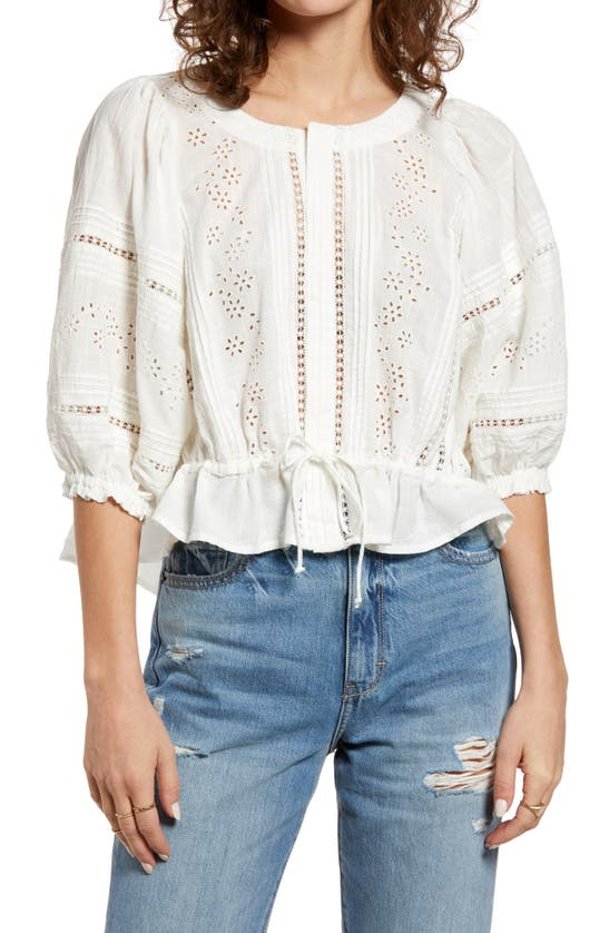 Free People Cottons EYELET CROP TOP