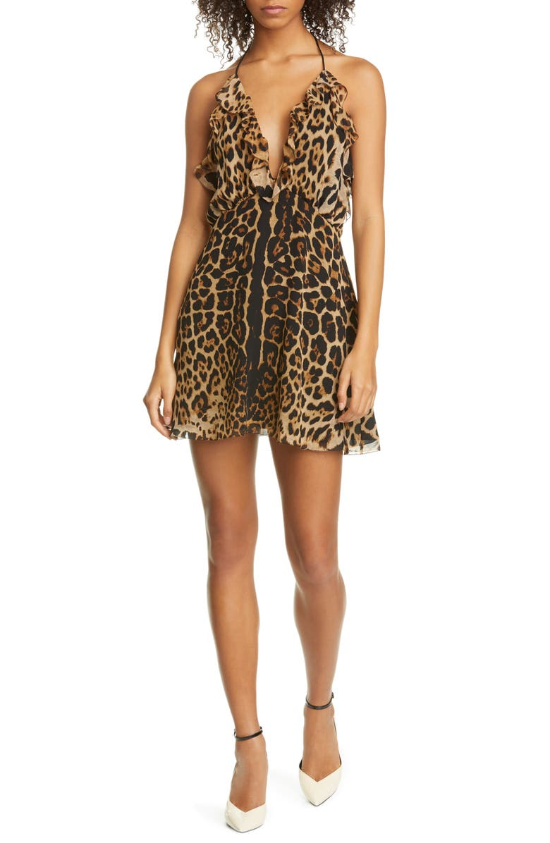 SAINT LAURENT Ruffle Trim Leopard Print Silk Halter Minidress, Main, color, LEOPARD