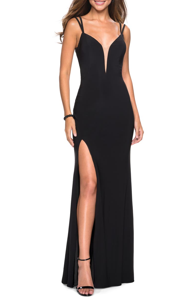 LA FEMME Strappy Back Fitted Jersey Evening Dress, Main, color, BLACK