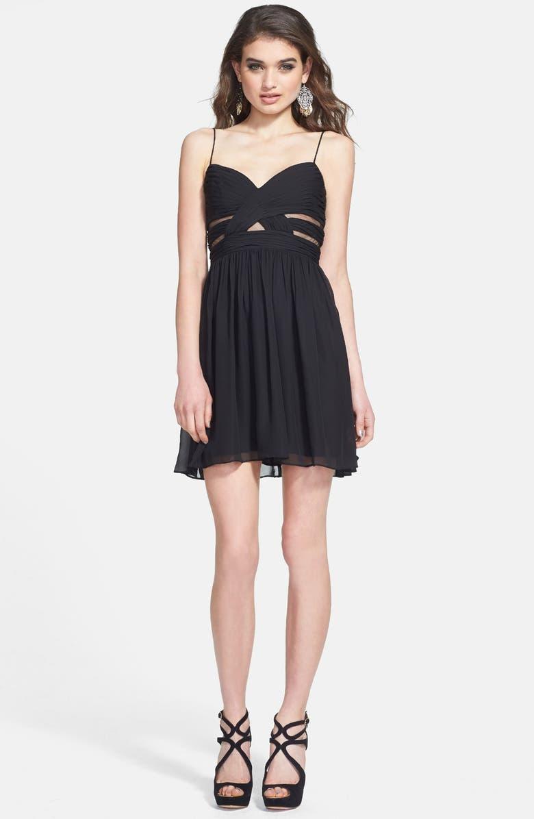 HAILEY LOGAN Cutout Chiffon Dress, Main, color, 001