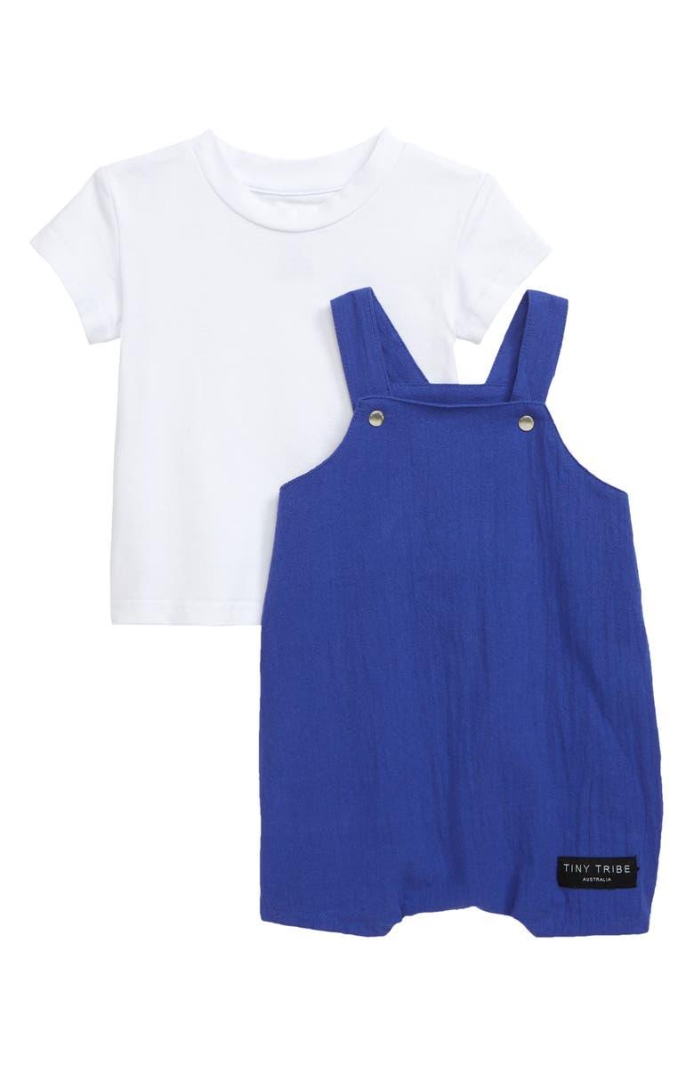 TINY TRIBE T-Shirt & Balloon Short Overalls Set, Main, color, BLUE