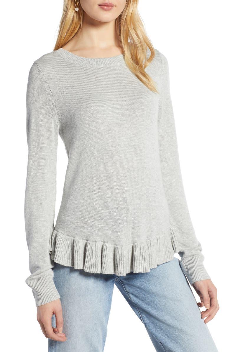 HALOGEN<SUP>®</SUP> Ruffle Hem Sweater, Main, color, 031